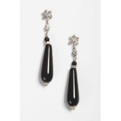 Long Onyx Drop Earring